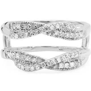 14k White Gold 2/5ct TDW Round-cut Diamond Wedding Band Guard Ring (H-I, I1-I2)