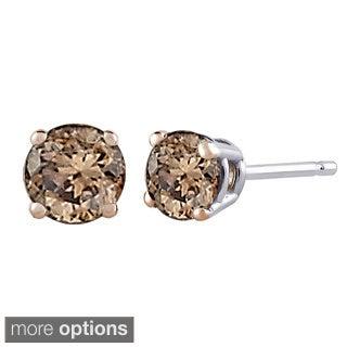 14k White Gold 1ct TDW Brown Diamond Studs (Brown, I1)