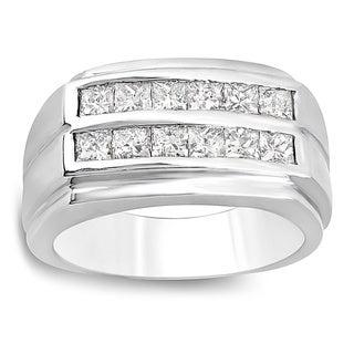 14k White Gold 1.35ct Princess-cut Diamond Men's Anniversary Wedding Band
