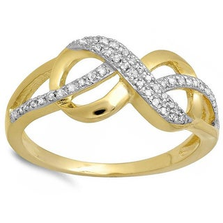 18k Yellow Goldplated Sterling Silver 1/6ct TDW Diamond Infinity Ring (H-I, I1-I2)