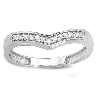 10k White Gold 1/6ct TDW Round-cut Diamond Wedding Stackable Band Anniversary Chevron Ring
