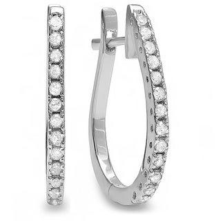 14k White Gold 1/4ct TDW Round White Diamond Hoop Earrings (H-I, I1-I2)