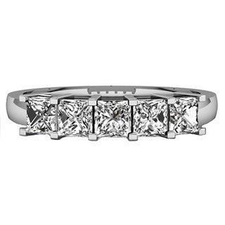14k White Gold 1ct TDW Princess-cut White Diamond 5 Stone Bridal Wedding Ring (H-I, I1-I2) Annive