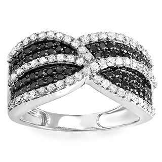 10k White Gold 1 1/6ct TDW Black and White Diamond Cocktail Right Hand Ring (H-I, I1-I2)