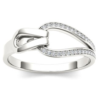 De Couer 10k White Gold 1/10ct TDW Diamond Fashion Ring (H-I, I2)