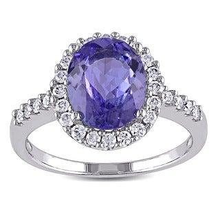 Miadora Signature Collection 14k White Gold Tanzanite and 2/5ct TDW Diamond Halo Ring (G-H, I1-I2)