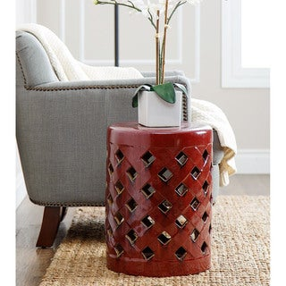 Abbyson Living Capiz Red Ceramic Garden Stool