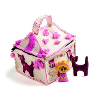 Children's Felted Doll House with Doll and Cat (Denmark)