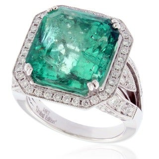Suzy Levian 14k White Gold 13 1/4ct TGW Emerald and 1 3/4ct TDW Diamond Ring (G-H, I1-I2)