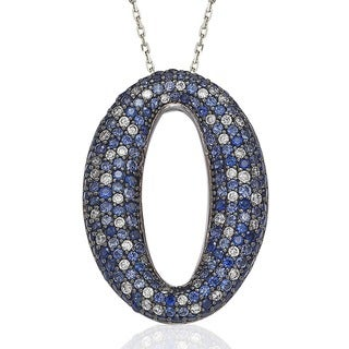 Suzy Levian Sterling Silver Blue and White Sapphire and Diamond Accent Pave Oval Necklace