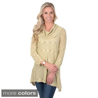 Journee Collection Women's Shimmering Cowl Neck Tunic