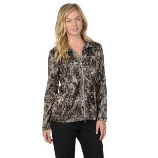 Journee Collection Women's Print Comfort Zip-Up Jacket