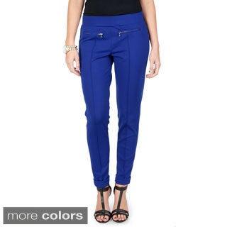 Journee Collection Women's Zipper Detail Knit Ponte Pants