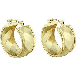 14k Yellow Gold Polished Diagonal Ribbed Design Hoop Earrings