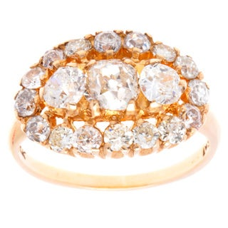 Pre-owned 14k Yellow Gold 3ct TDW Diamond Old Mine Cut Estate Ring (G-H, SI1-SI2)