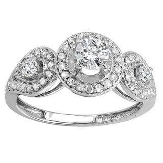 14k White Gold 1ct TDW Brilliant Round Diamond 3-stone Halo Style Vintage Bridal Engagement Ring (H-I, I1-I2)