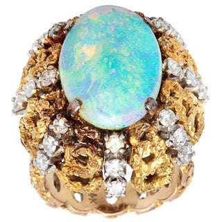 Pre-owned 18k Yellow Gold 1 1/4ct TDW Diamond Opal Nugget Cocktail Estate Ring (H-I, SI1-SI2) (Size 6)