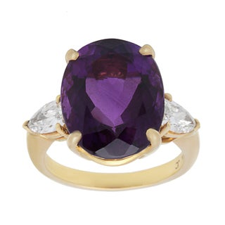 Pre-owned 18k Yellow Gold Giant Amethyst and 4/5ct TDW Diamond Estate Cocktail Ring (H-I, SI1-SI2)