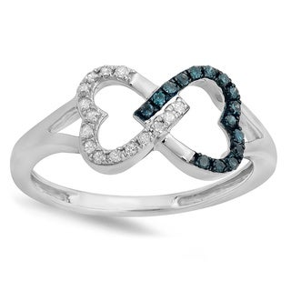Sterling Silver 1/6ct TDW Round White and Blue Diamond Heart Infinity Ring (I-J, I2-I3)