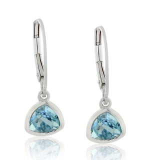 Gioelli Sterling Silver Trillion-cut Blue Topaz Leverback Earrings