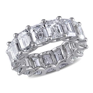 Miadora 18k White Gold 15 1/10ct TDW Certified Emerald-Cut Diamond Eternity Ring (G-H-I, VVS1-V