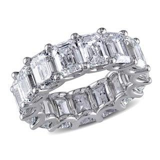 Miadora 18k White Gold 15 1/10ct TDW Certified Emerald-Cut Diamond Eternity Ring (G-H-I, VVS1-V