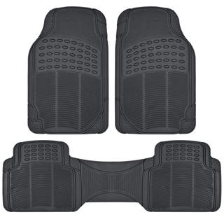 BDK Heavy Duty 3-piece Trimmable Rubber Ridged Car Floor Mats