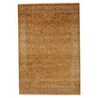 Herat Oriental Indo Hand-knotted Vegetable Dye Brown/ Green Wool Rug (5'10 x 8'7)