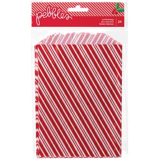 "Home For Christmas Printed Treat Bags 24/Pkg-Candy Cane Stripe, 5""X7.5"""