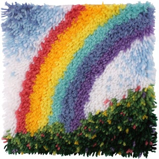 "Wonderart Latch Hook Kit W/Tool 12""X12""-Rainbow"