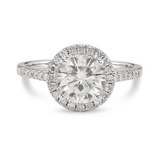 14k White Gold Forever Brilliant Moissanite Halo Ring
