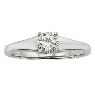 Charles and Colvard 14k White Gold 1/2ct TGW Forever Brillant Moissanite Solitaire Ring