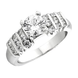 14k White Gold 1/2ct Round Diamond Semi Mount Bridal Engagement Ring