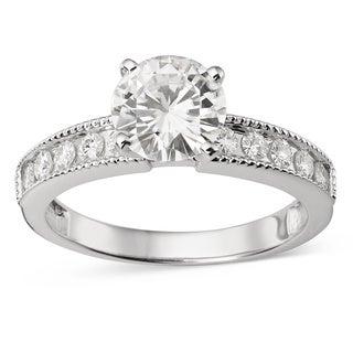 Charles and Colvard Forever Brillant 14k White Gold 1 1/2ct TGW Moissanite Bridal Ring