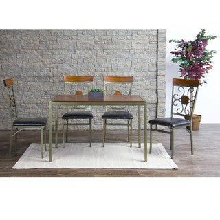 Baxton Studio Modica Wood and Metal Dining Chairs Set of 4