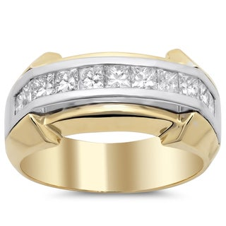 14k Men's Diamond Ring 1 1/2ct TDW (F-G, SI1-SI2)