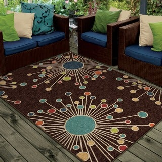 "Promise Collection Revati Brown Olefin Indoor/Outdoor Area Rug (7'8"" x 10'10"")"