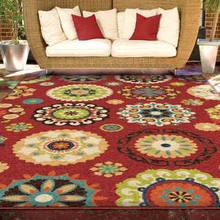 "Promise Collection Salsalito Red Olefin Indoor/Outdoor Area Rug (3'10"" x 5'5"")"