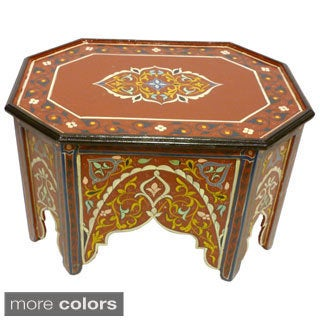 Hand-painted Multicolored Wood Coffee Table (Morocco)
