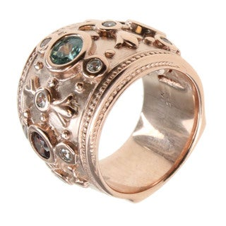 Dallas Prince Rose Gold Over Silver Multi-stone Ring