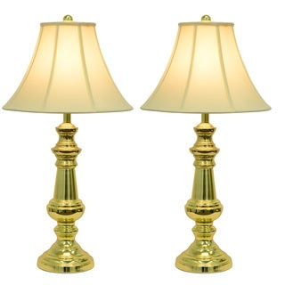 Touch Control Polished Brass Table Lamps (Set of 2)