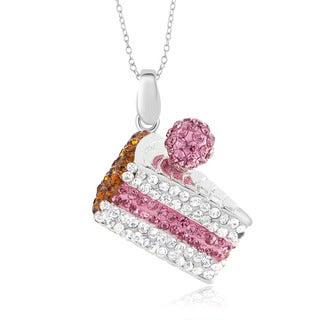 Silvertone Brass Crystal Cake Slice Pendant 18-inch Necklace