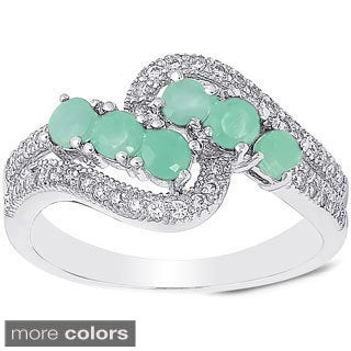Dolce Giavonna Sterling Silver Gemstone and Cubic Zirconia Crossover Ring