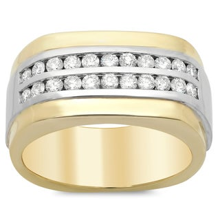 14k Two-tone Gold Men's 4/5ct TDW Diamond Ring (F-G, SI1-SI2)