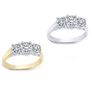 Auriya 14k Gold 1 3/4ct TDW Round Diamond 3-stone Engagement Ring (I-J, I1-I2)