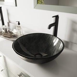VIGO Gray Onyx Glass Vessel Sink and Seville Faucet Set in Matte Black Finish