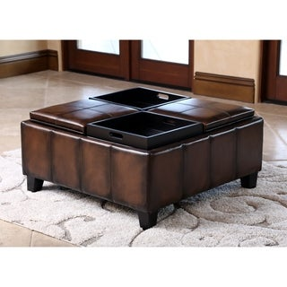 ABBYSON LIVING Vincent Hand Rubbed Brown Leather Square Ottoman with 4 Trays