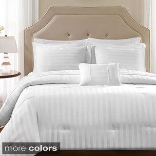 Madison Park 300TC Dobby Stripe Cotton 4-piece Duvet Cover Set