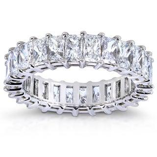 Annello 14k White Gold 5 1/2ct TDW Princess Baguette Diamond Eternity Band (G-H, VS1-VS2)