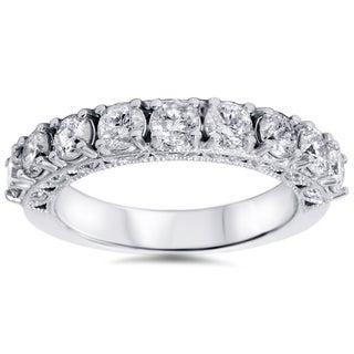 Bliss 14k White Gold 1 1/2ct TDW Vintage Diamond Wedding Band (H-I, I1-I2)